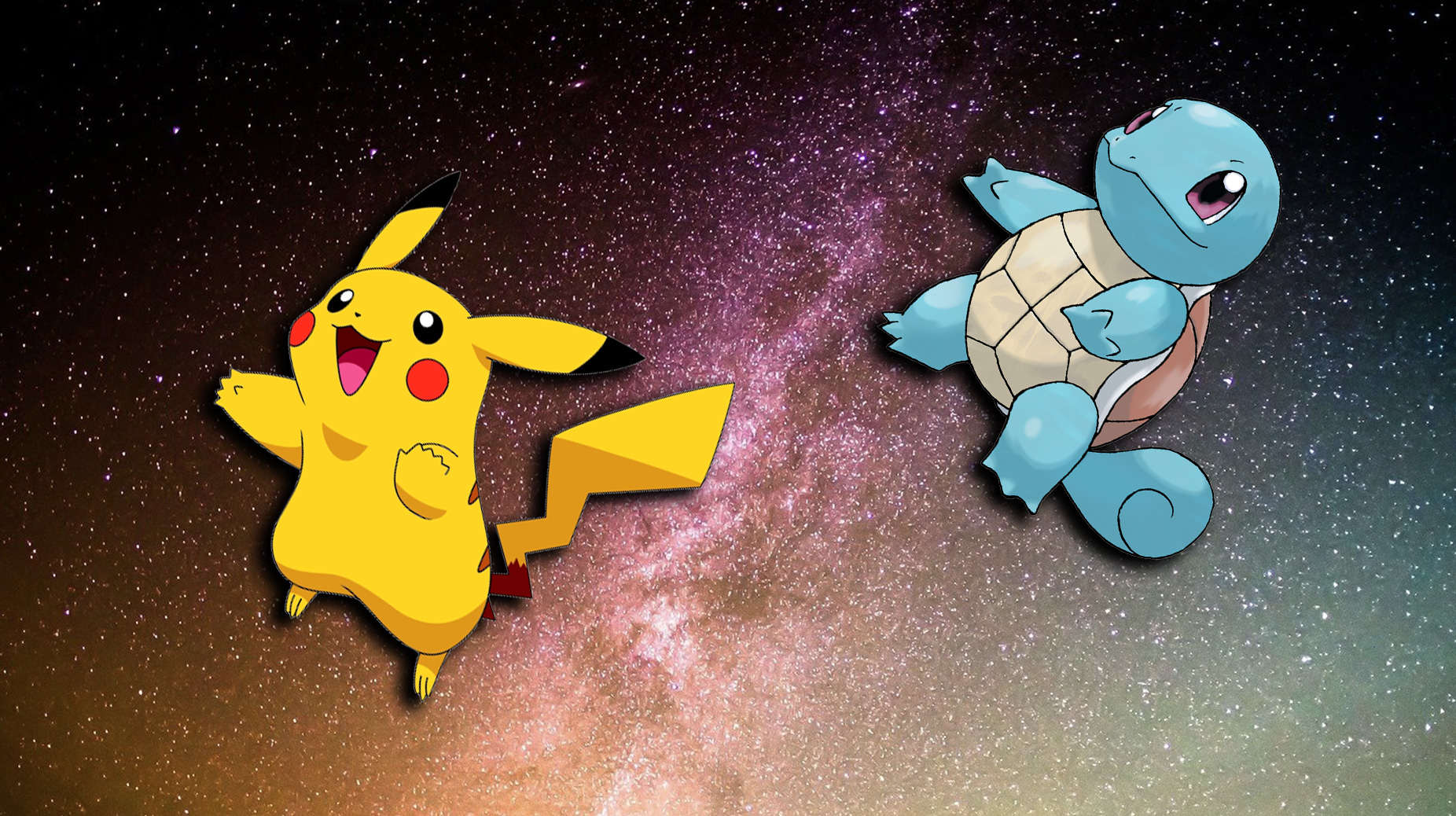 Screenshot of Pokemon Pikachu and Squritle flying in space.