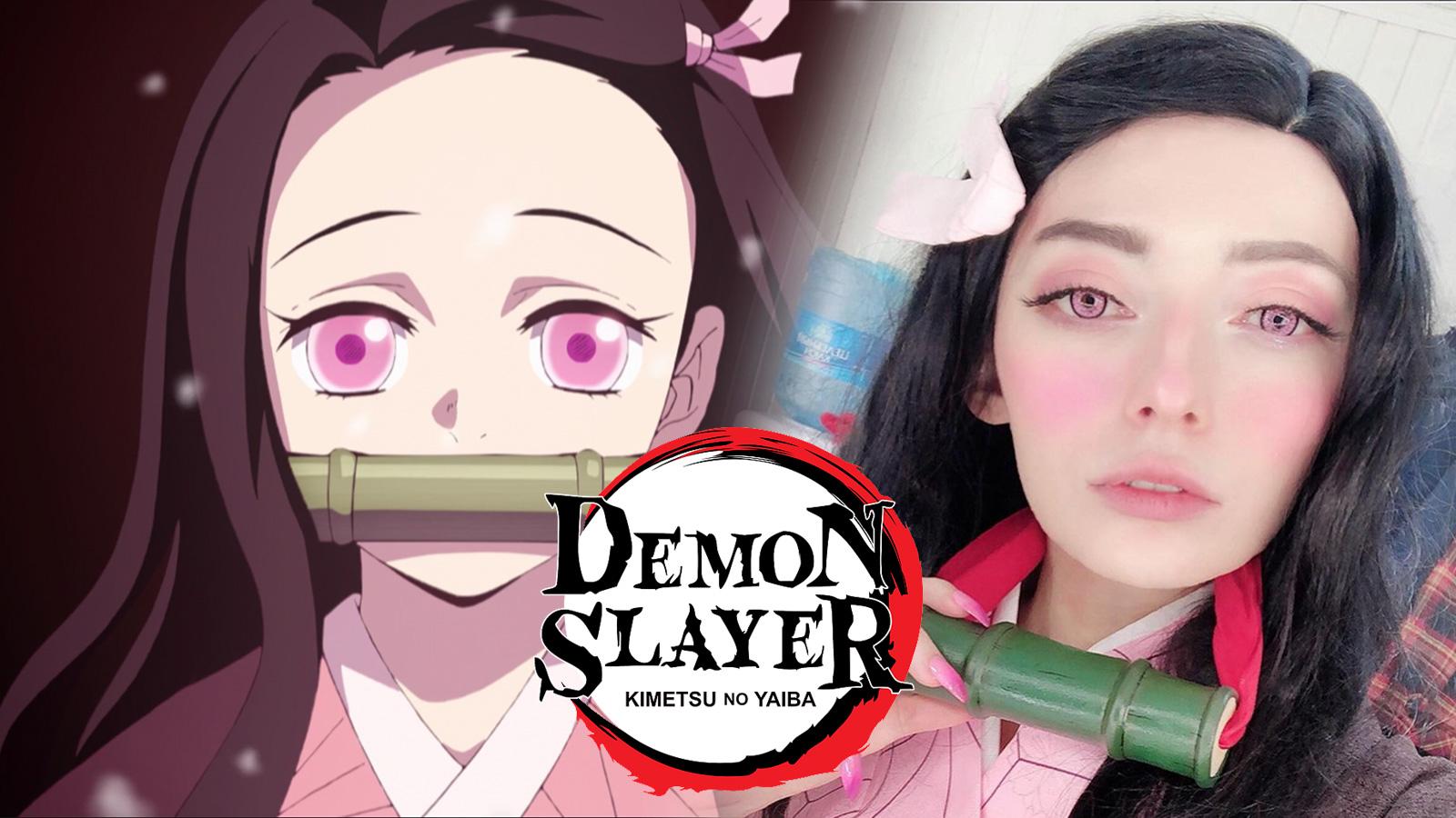 Screenshot of Demon Slayer protagonist Nezuko Kamado next to cosplayer.
