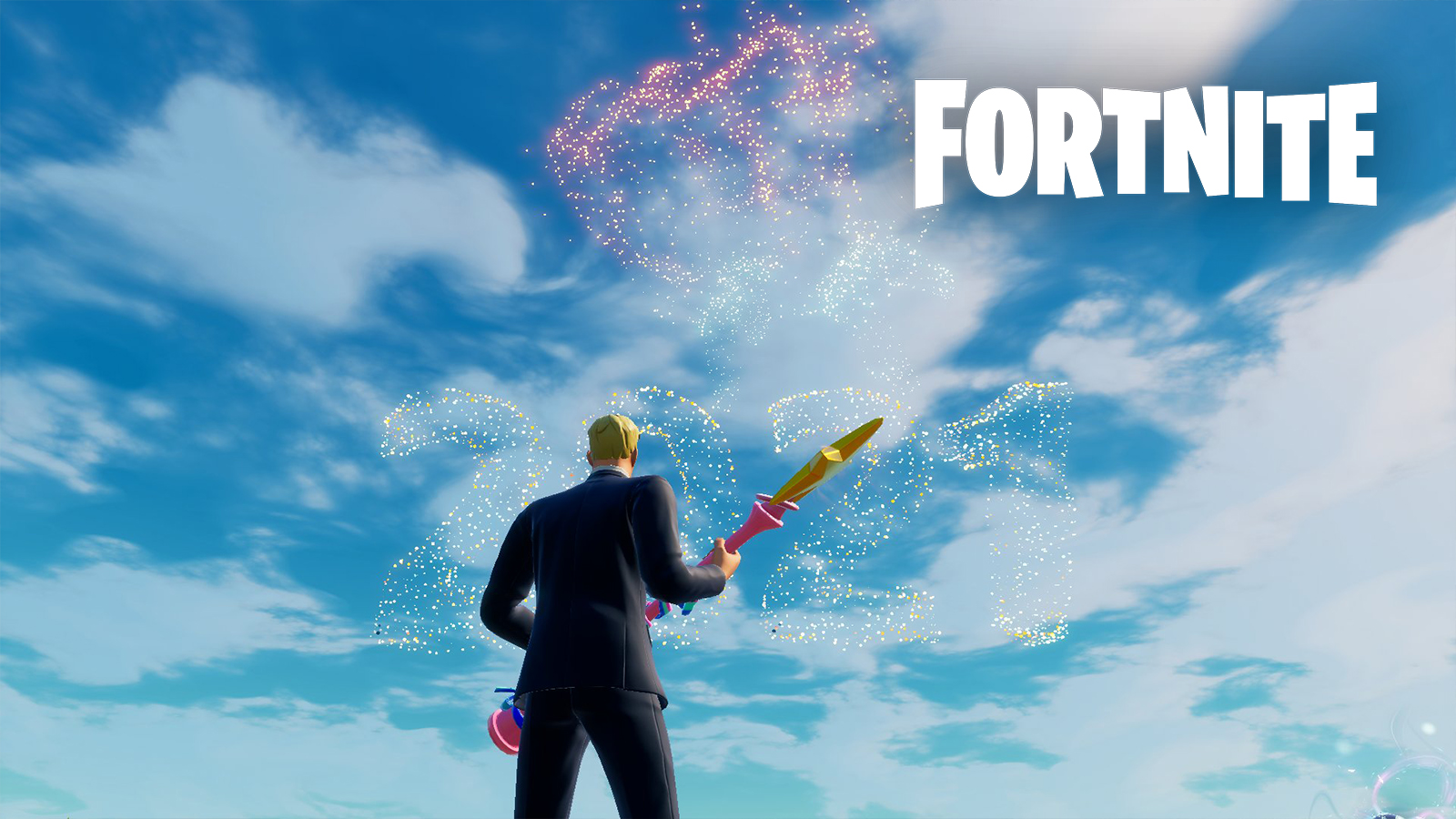 Fortnite's 2021 celebration with fireworks shooting off in the sky