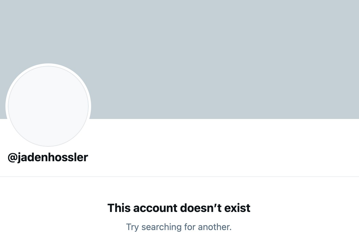 Screenshot showing that Jaden Hossler's account doesn't exist