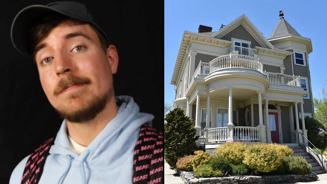 Mr Beast side-by-side with a house
