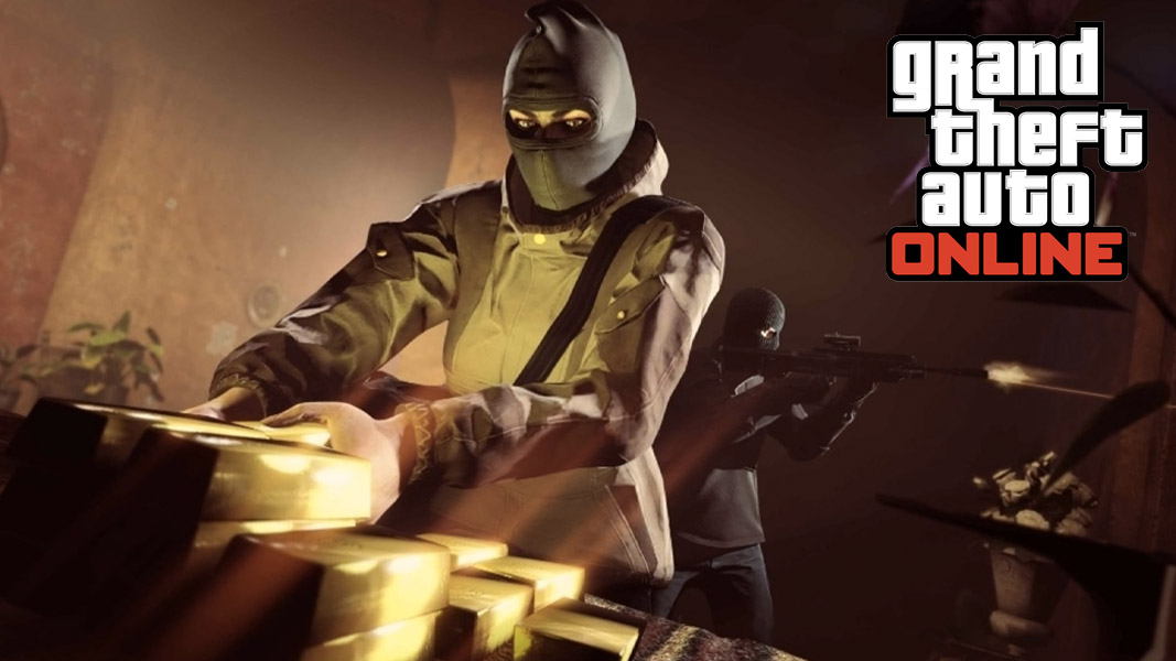 GTA Online heist character collecting gold bars