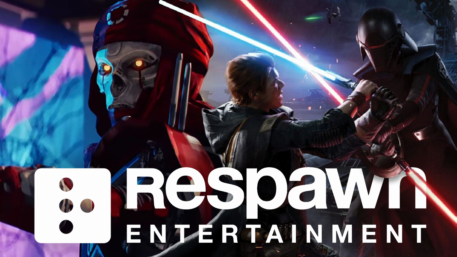 Revenant from Apex Legends and Cal Ketsis from Star Wars Jedi: Fallen Order above Respawn Entertainment.