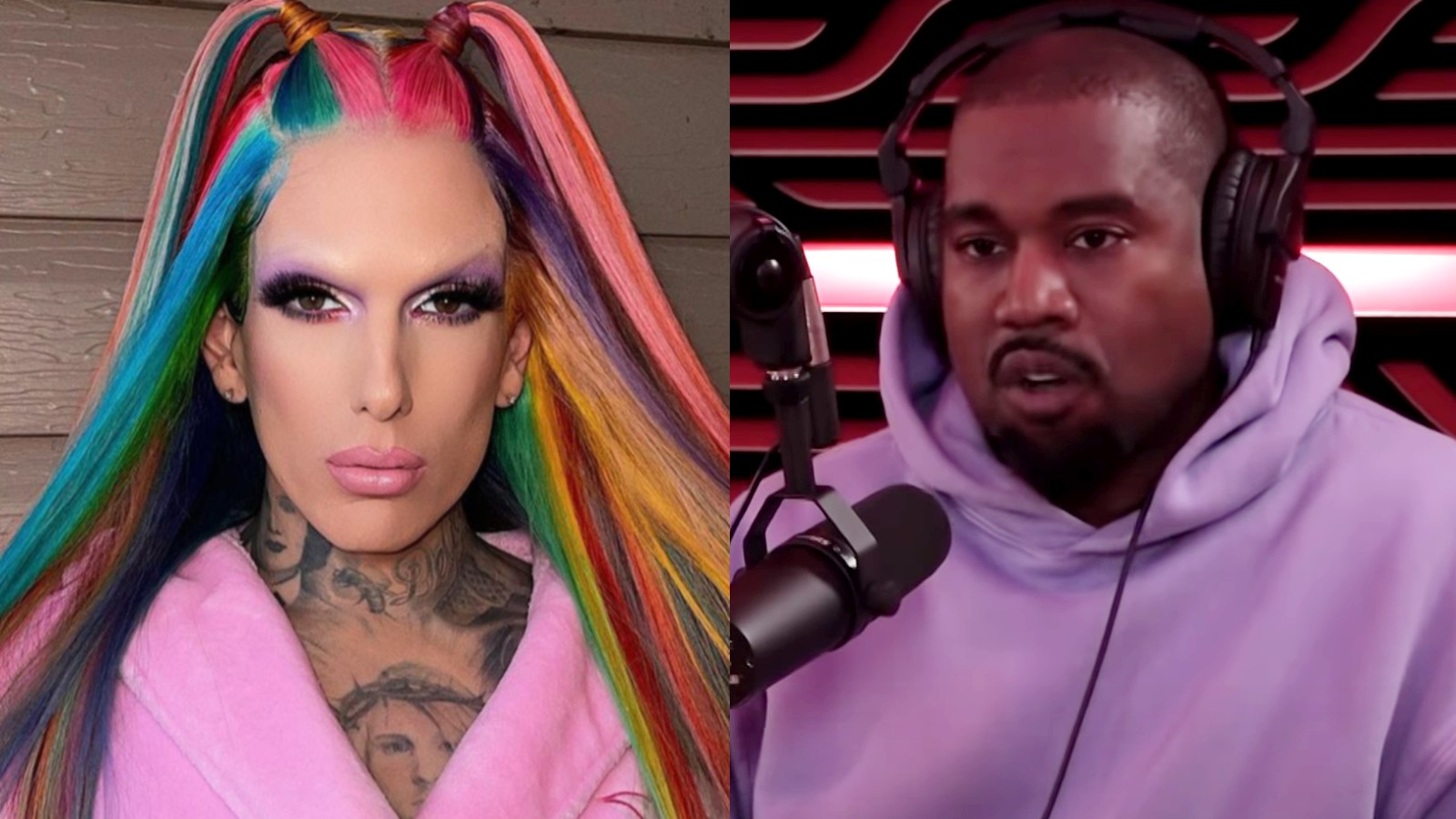 Jeffree star in an Instagram photo next to Kanye West on the Joe Rogan podcast