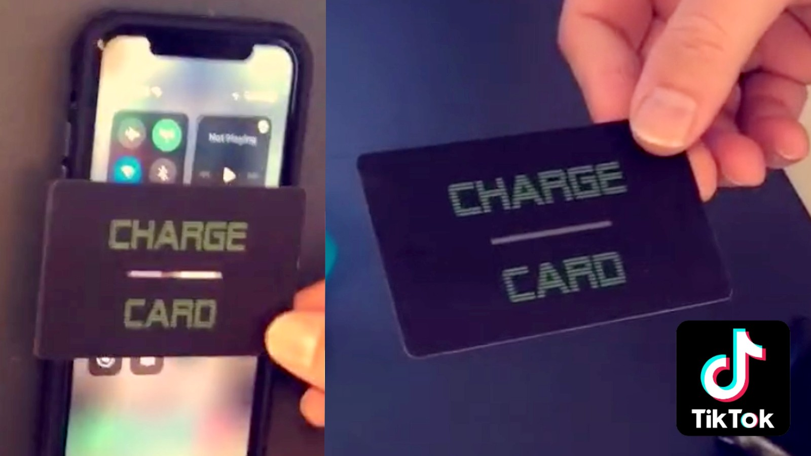 TikTok 'Charge Card' pressed against a phone