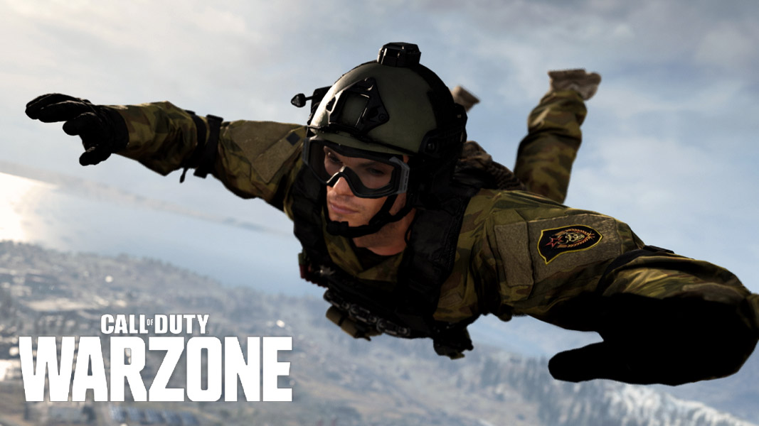 Warzone character skydiving without a parachute