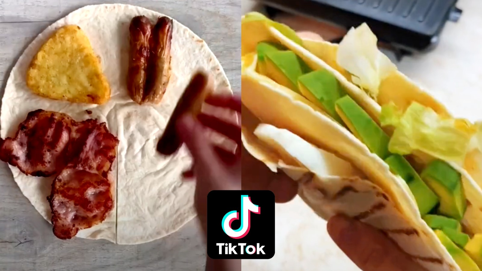 Tortilla unfolded and folded next to each other with the TikTok logo