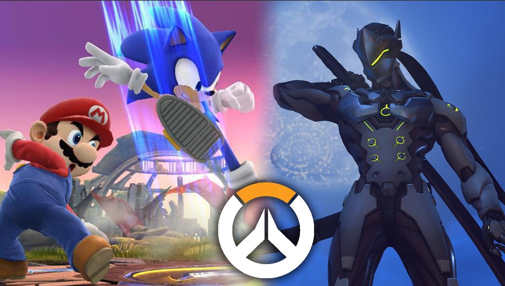 Smash Bros gameplay next to Overwatch gameplay