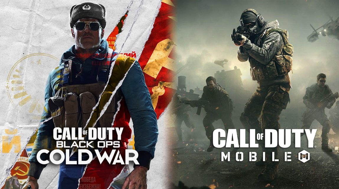 Black Ops Cold War cover next to CoD Mobile artwork