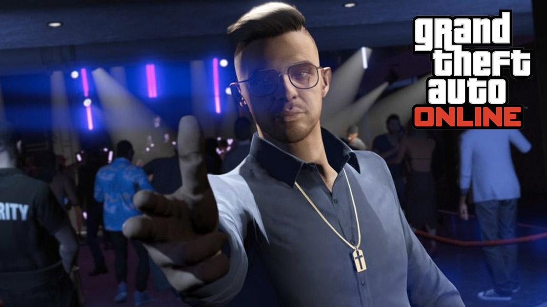 GTA Online character pointing fingers inside Diamond Casino