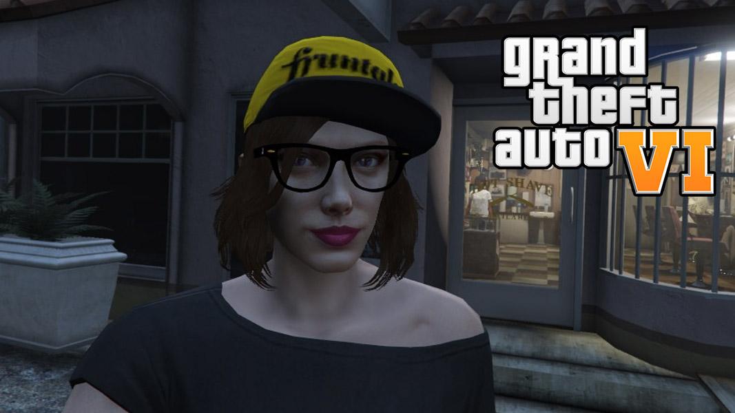 Female character taking a selfie in GTA Online