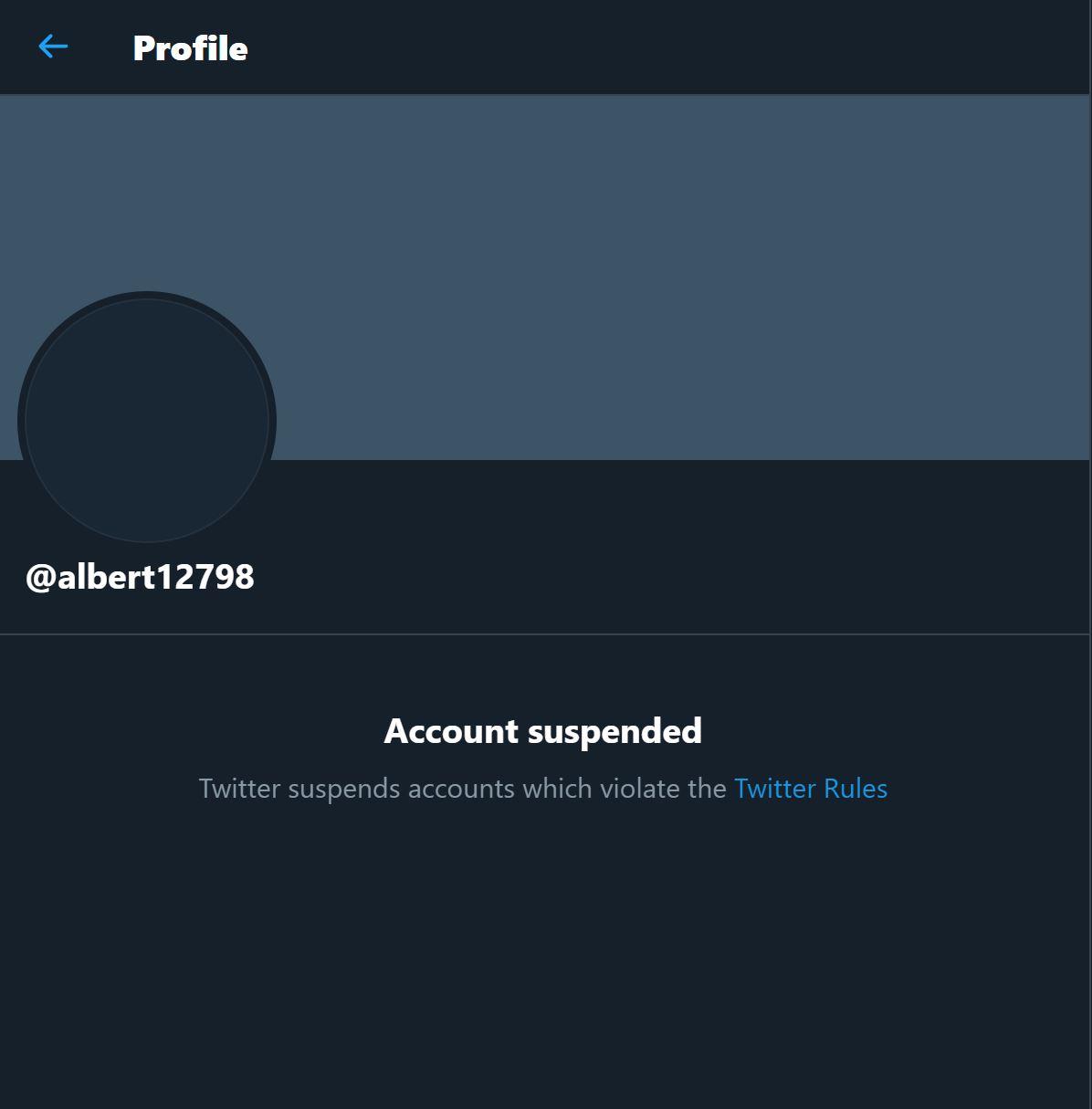 Albert Twitter account banned