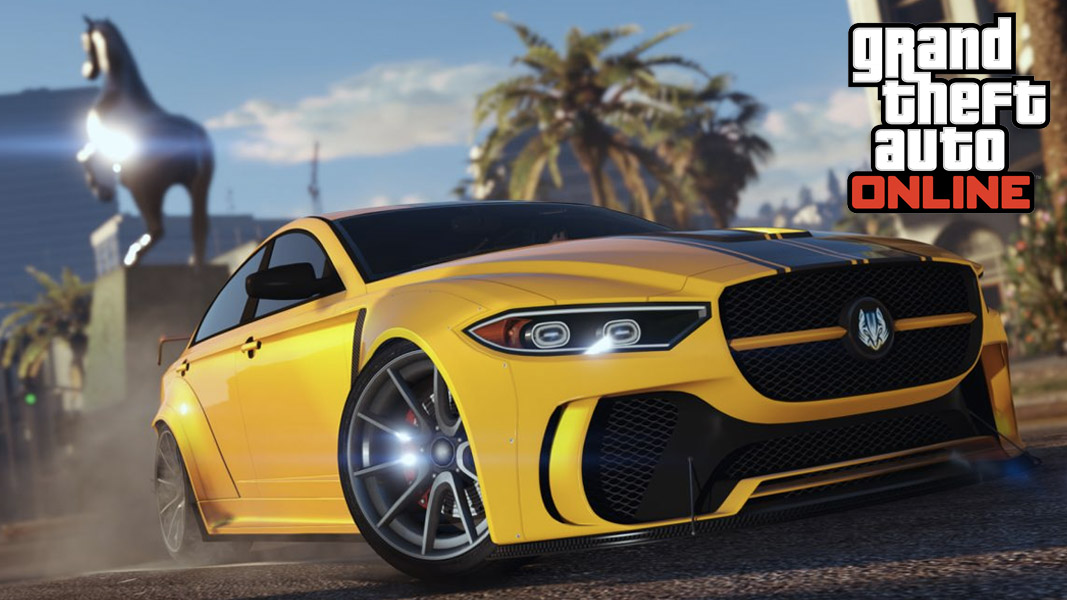Musclecar in GTA Online with the GTA Online logo