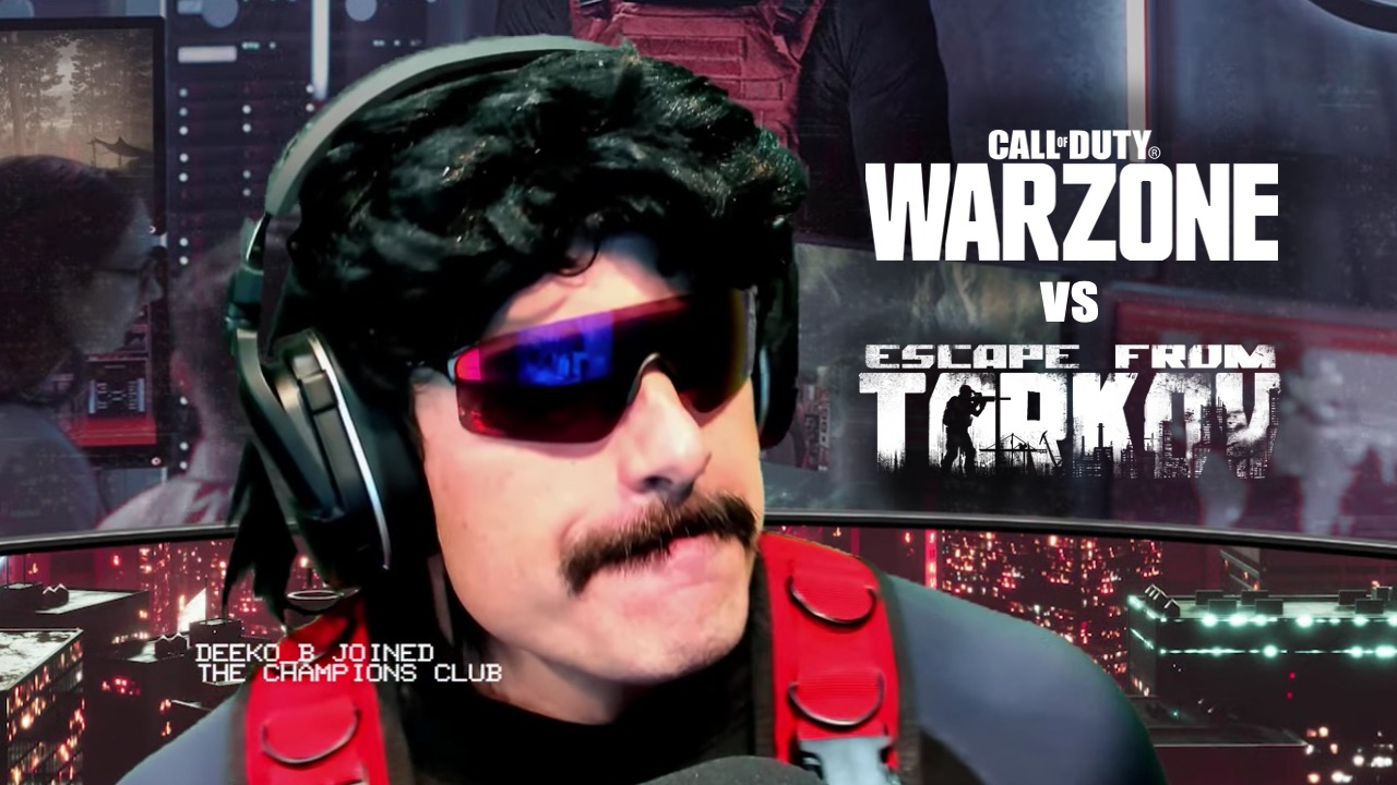 Dr Disrespect with warzone logo and escape from tarkov