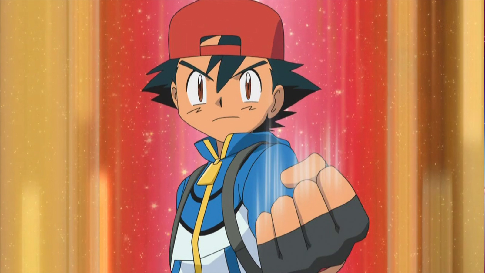 Screenshot of Ash Ketchum in Pokemon Black & White anime.