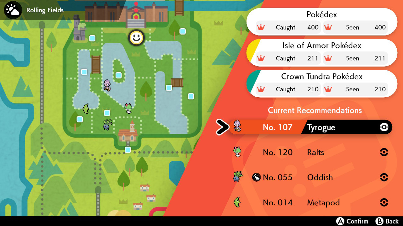 Screenshot of Pokemon Sword & Shield Dex recommendation feature.