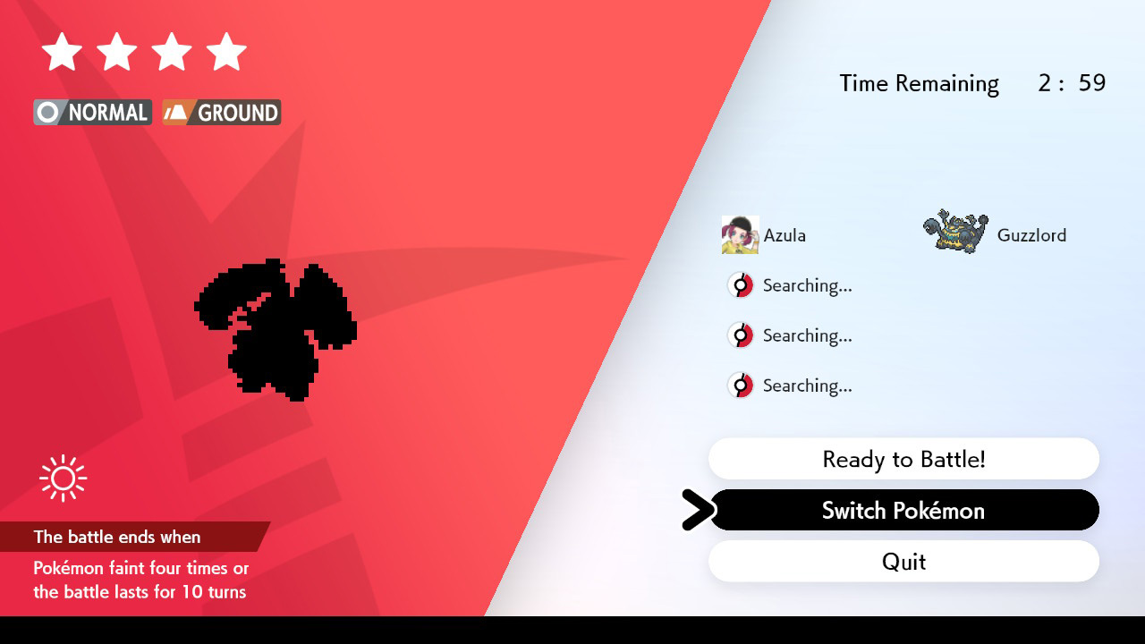 Screenshot of Pokemon Sword & Shield raid den menu.