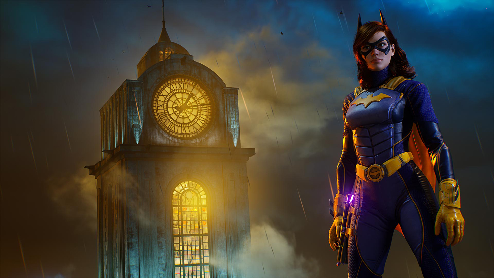 Batgirl standing by a clocktower in Gotham Knights