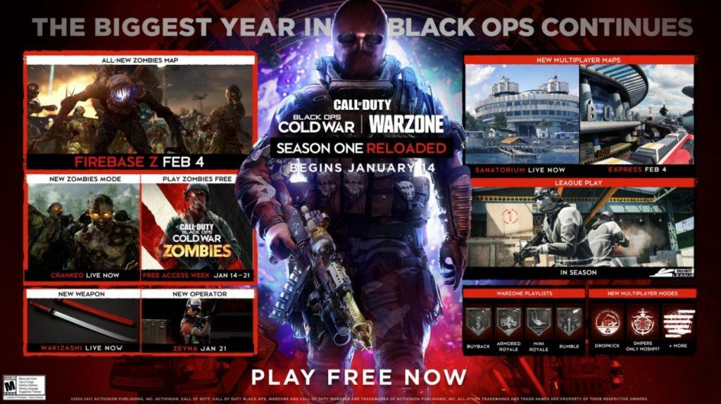 Season One roadmap in Black Ops Cold War.