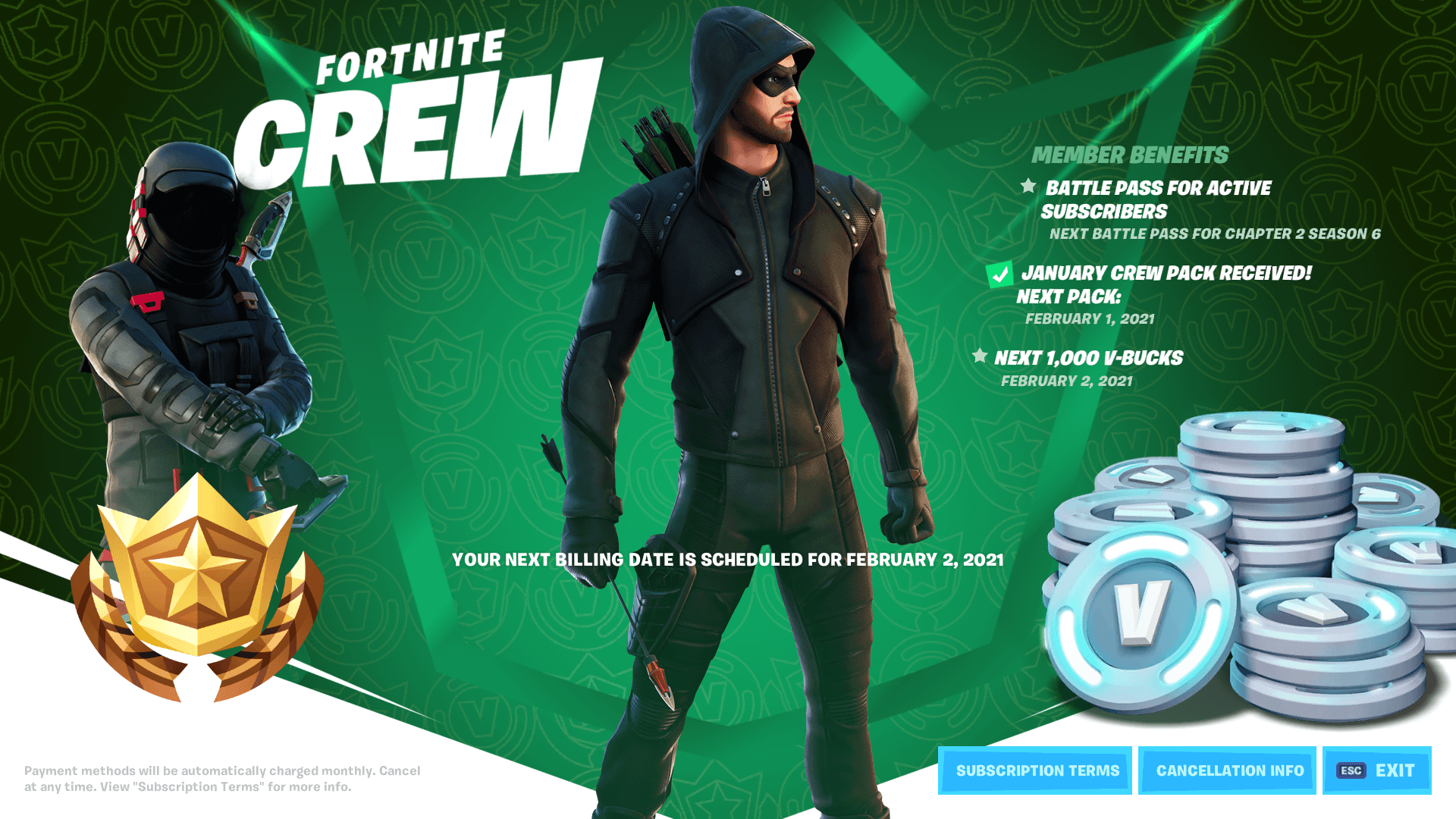 Fortnite Crew Green Arrow
