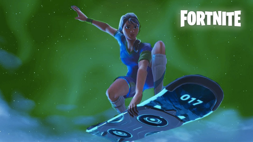 Fortnite soccer skin character riding a hoverboard