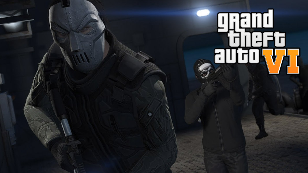 Masked GTA online characters with the GTA 6 logo