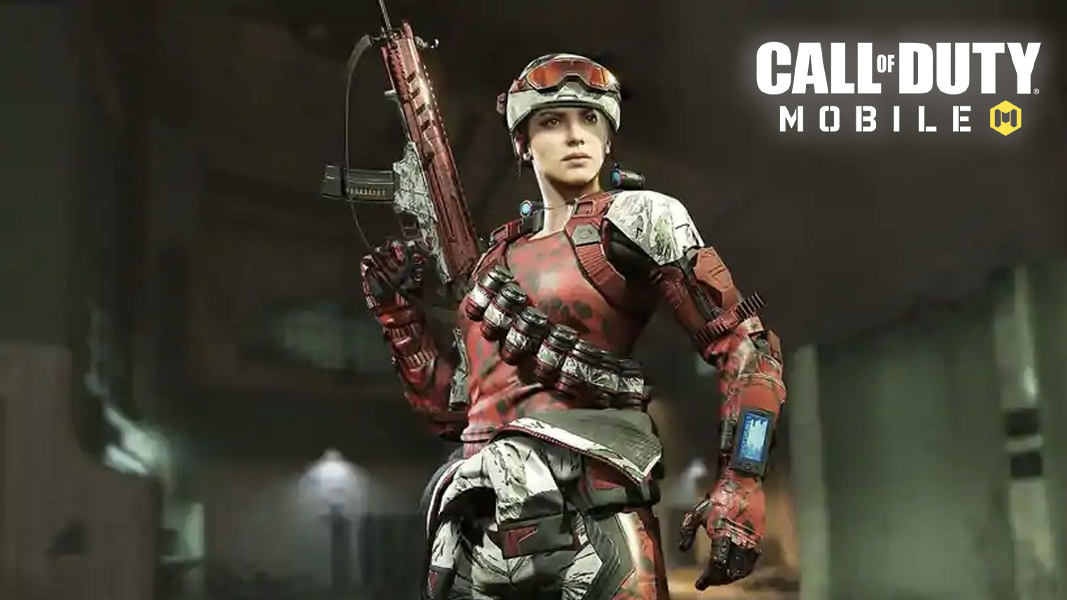 CoD mobile character holding a weapon up