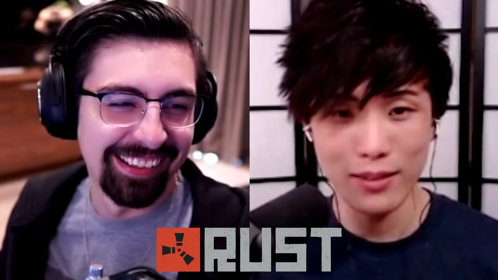 Shroud next to Sykkuno with the Rust logo