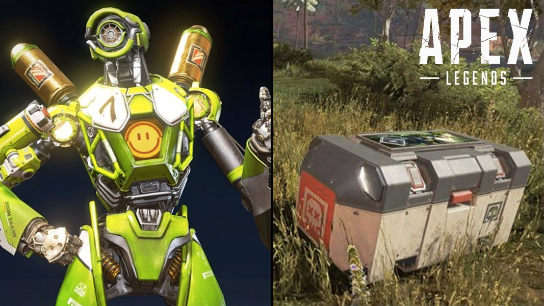 Pathfinder giving a thumbs up plus a death box from Apex Legends