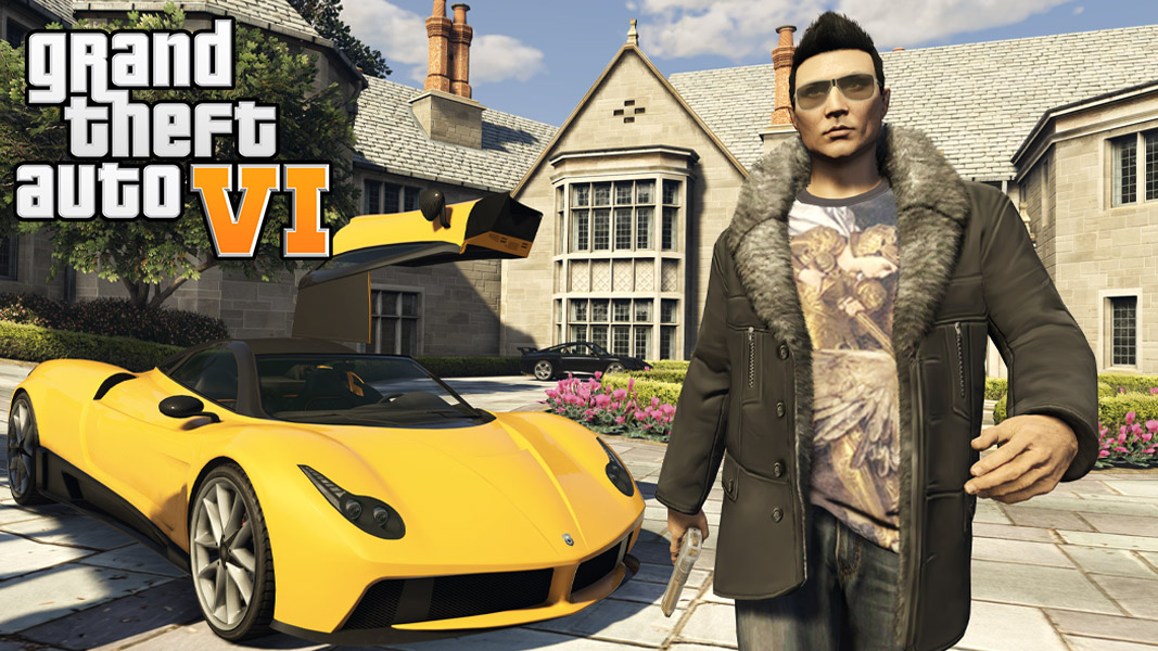 GTA Online character with a car and house