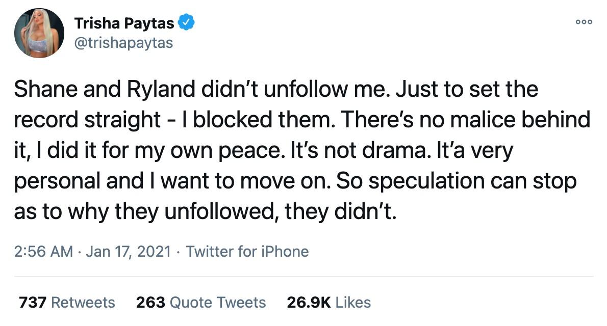 Trish Paytas tweets on drama