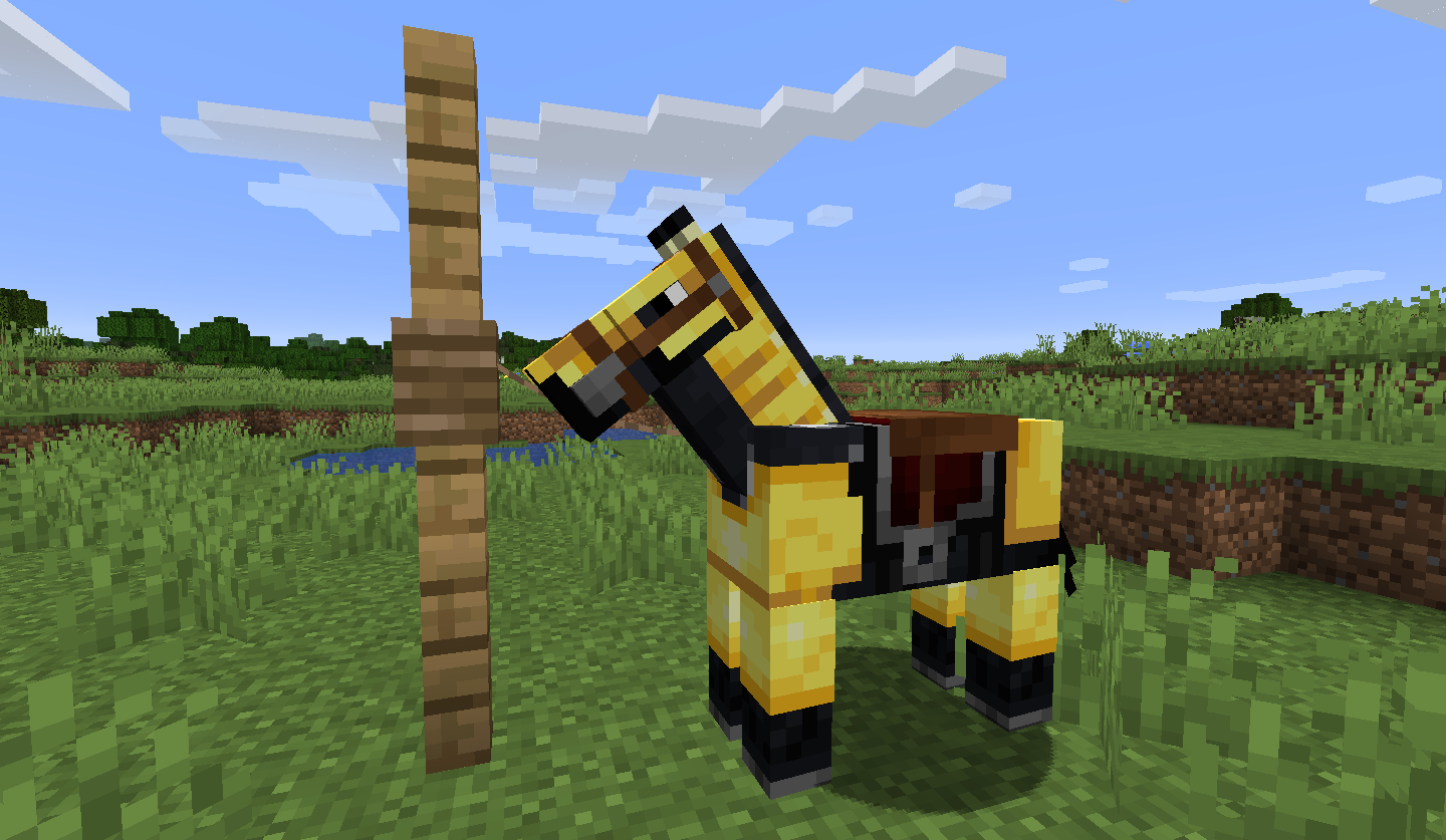 Horse tied up in minecraft