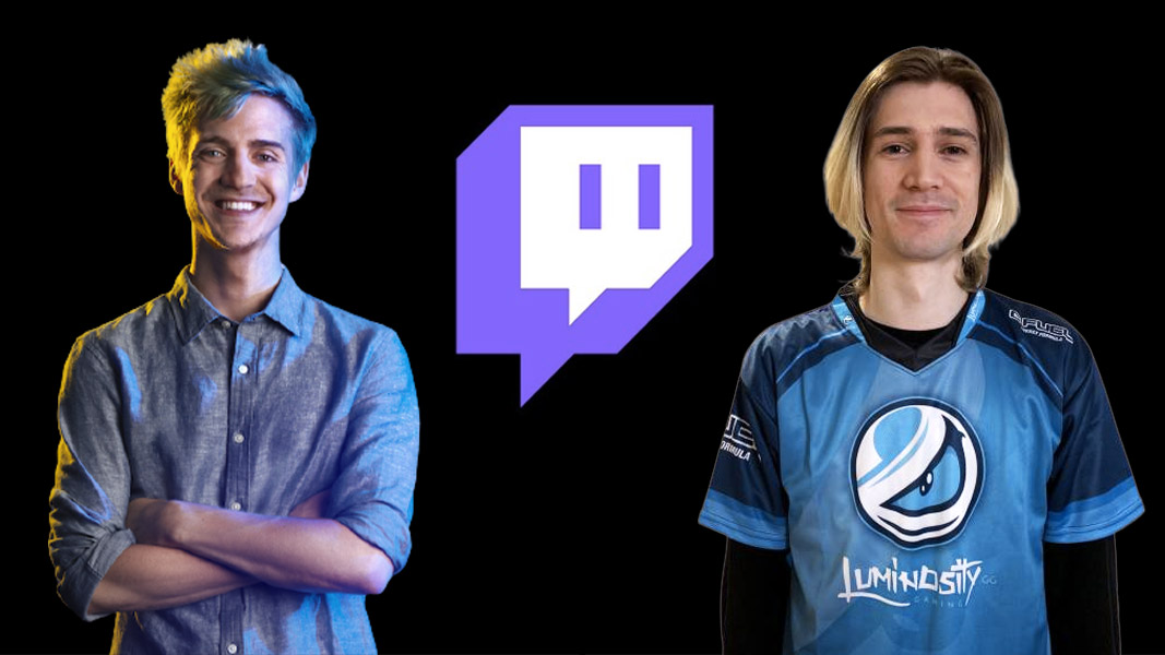 Ninja and xQc with the twitch logo