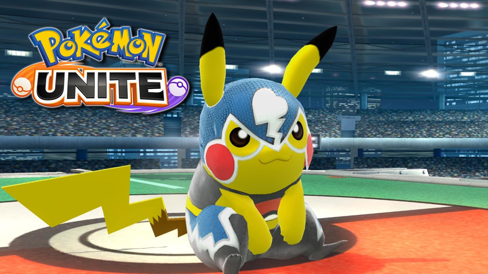 Screenshot of Pikachu Libre from Pokken Tournament next to Unite logo.
