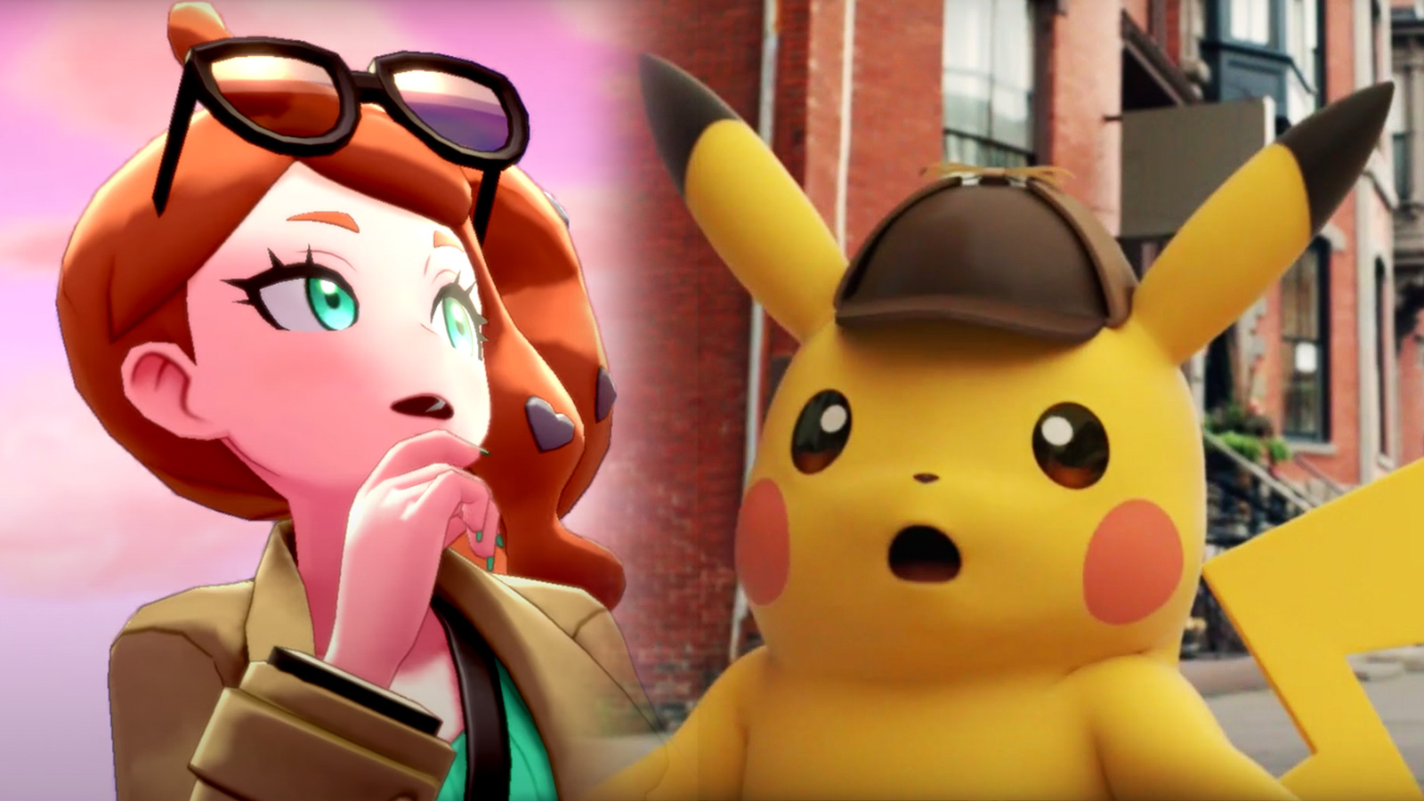 Screenshot of Sonia from Pokemon Sword & Shield next to Detective Pikachu.