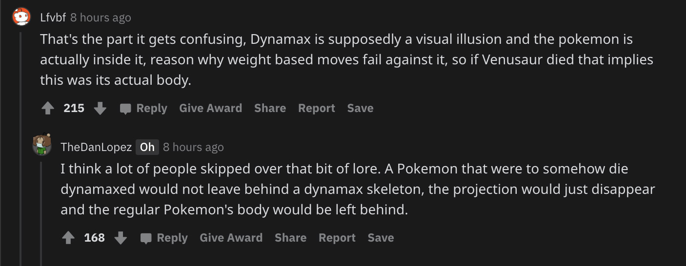 Screenshot of Pokemon fans reacting to Dynamx art.