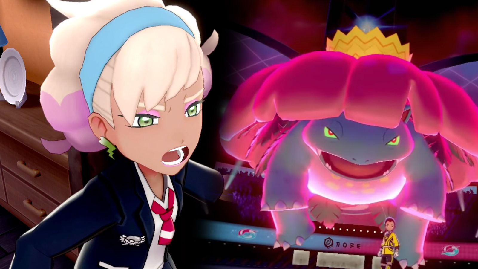 Screenshot of Pokemon Sword Shield Crown Tundra Peonia next to G-Max Ve