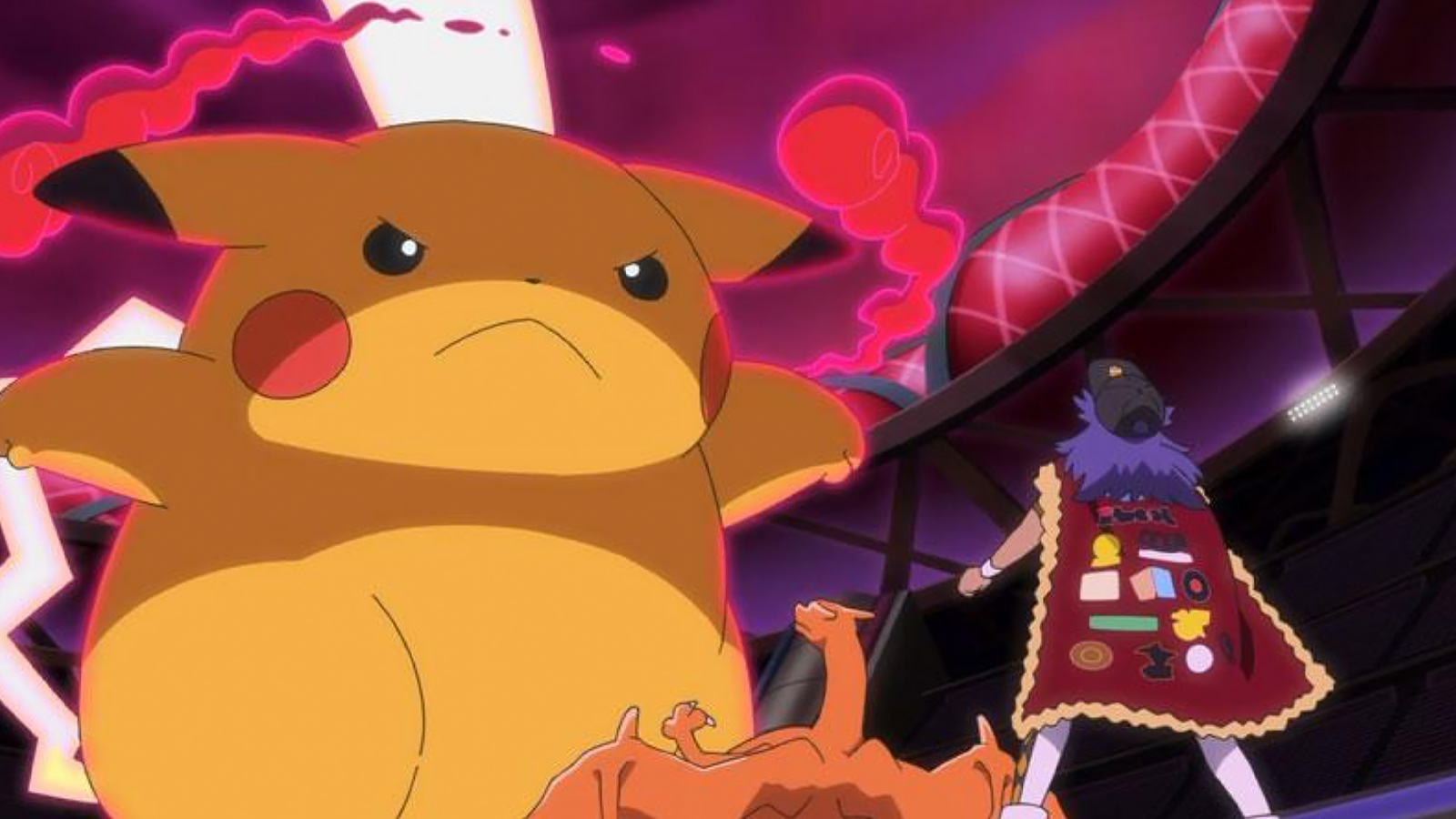 Screenshot of G-Max Pikachu in Journeys anime.