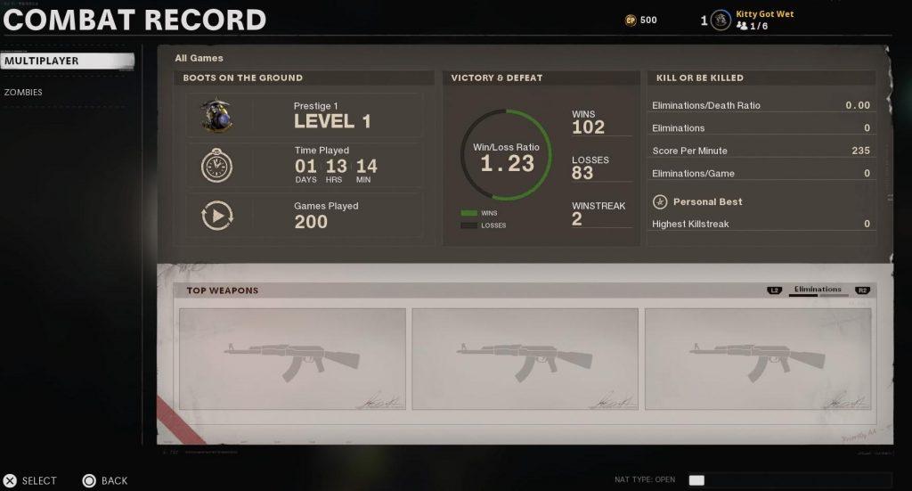 Black Ops Cold War combat record