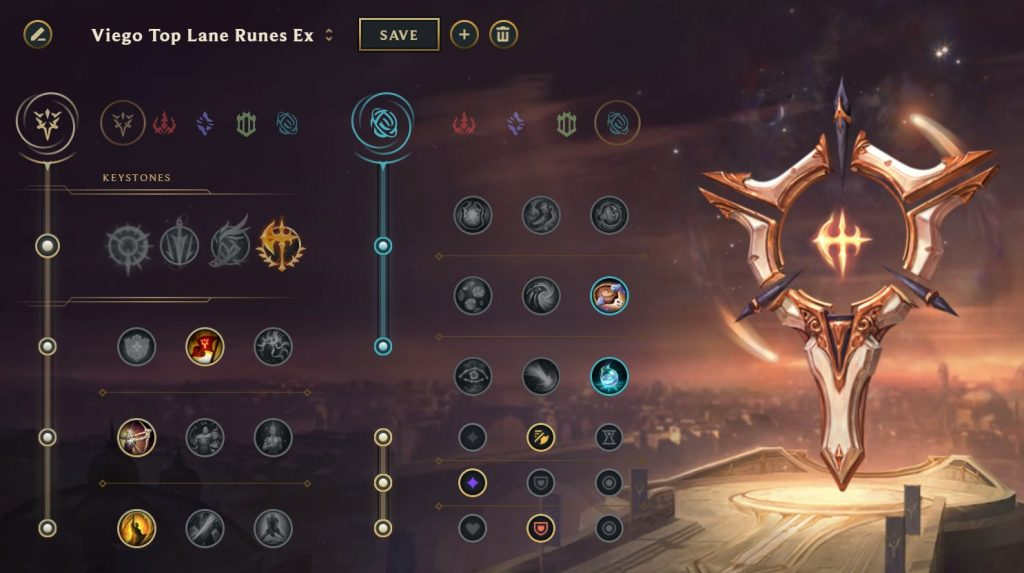 Viego Conqueror rune page in League of Legends