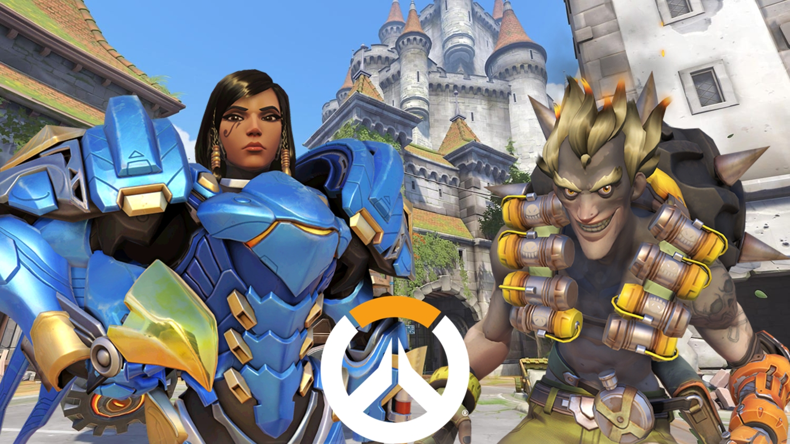 Overwatch Junkrat and Pharah on Eichenwalde