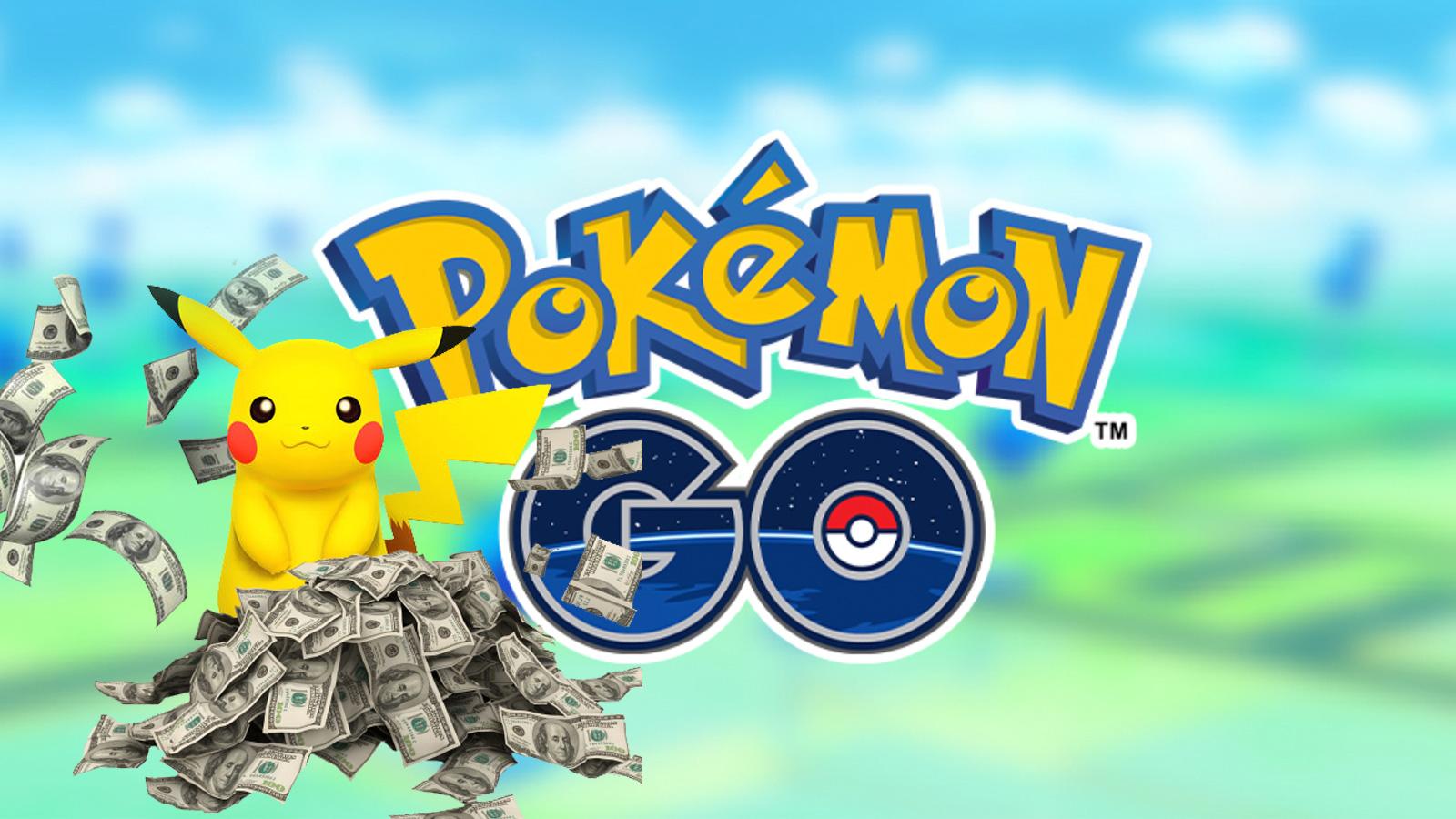 Screenshot of Pikachu with money pile over Pokemon Go logo.