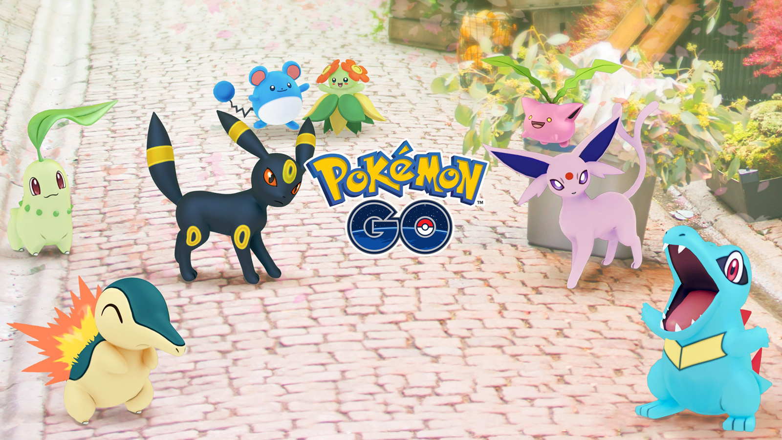 Screenshot of Pokemon Go Johto celebration art.