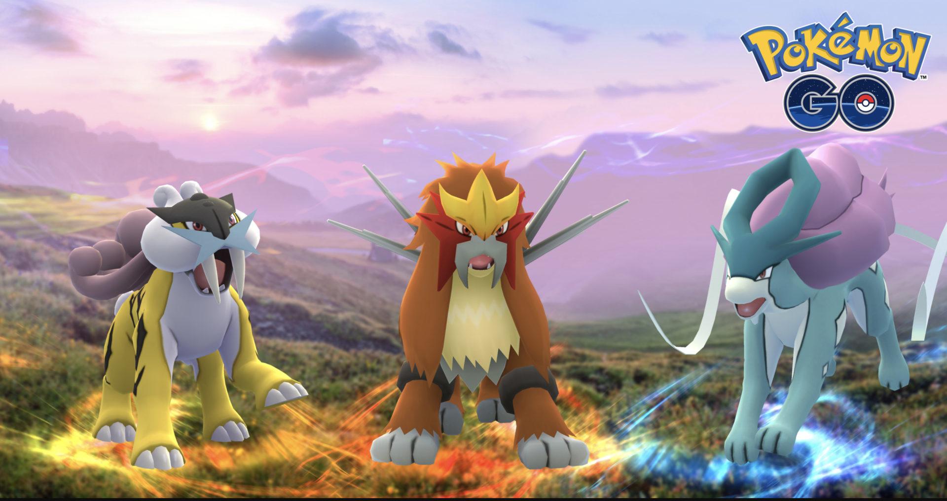 Screenshot of Beasts Trio in Pokemon Go Johto celebration.