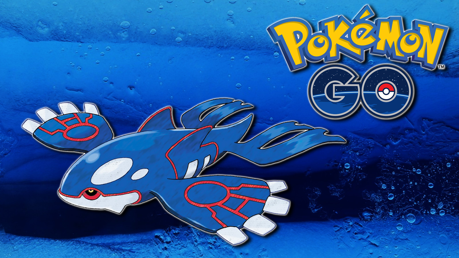 Screenshot of Pokemon Legendary Kyogre in Ocean next to Go logo.