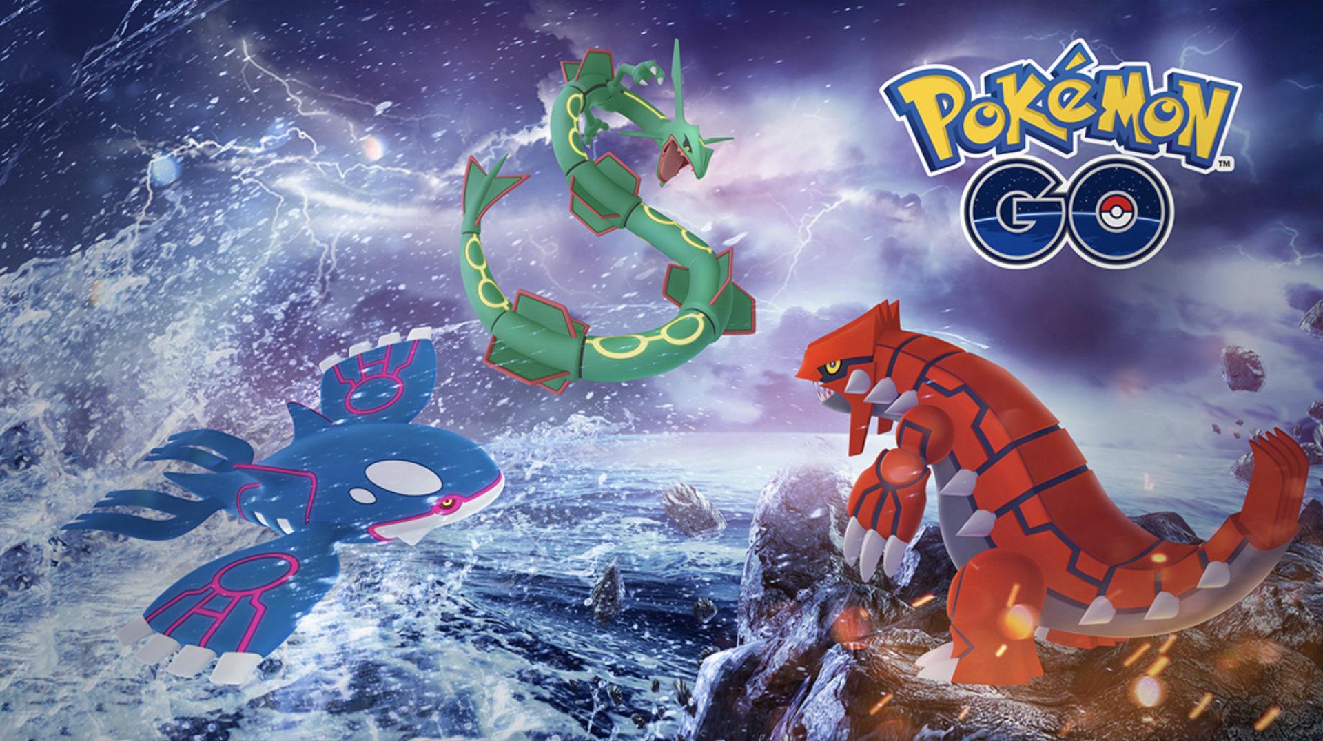Pokemon Kyogre, and Groudon in Go Hoenn Celebration.