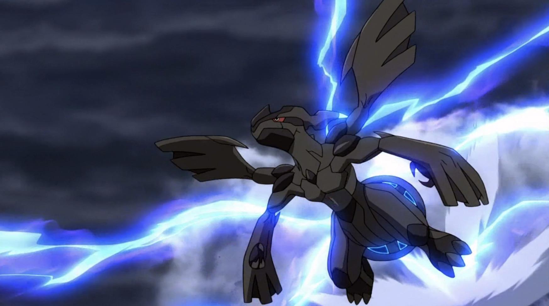 Screenshot of Legendary Zekrom in Pokemon anime.