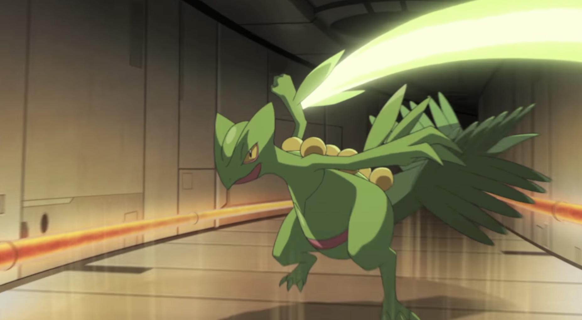 Screenshot of Gen 3 starter evolution Sceptile in Pokemon anime.
