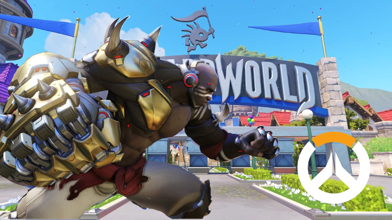 Doomfist in front of the Blizzard World sign