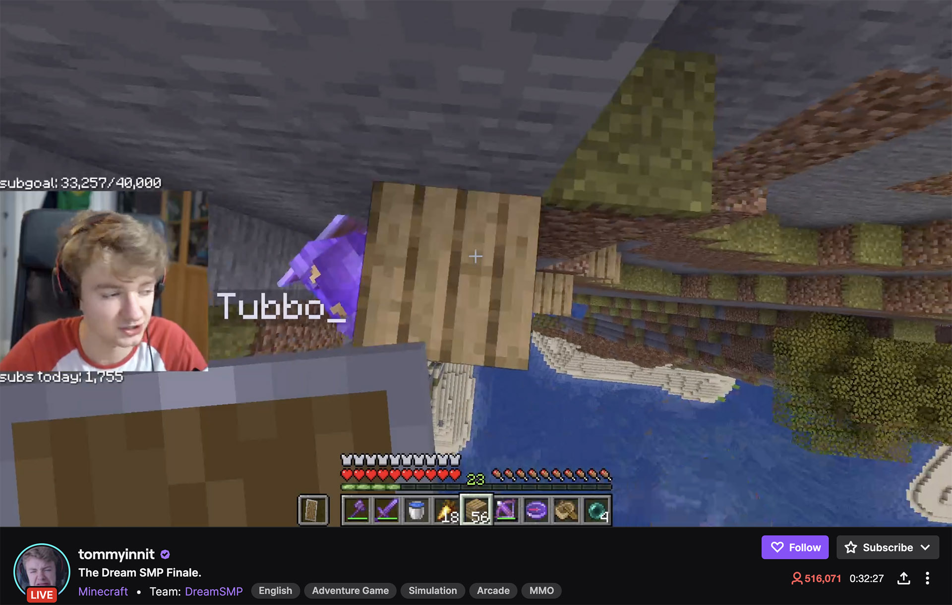 tommyinnit dream smp twitch record